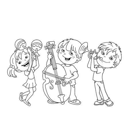 Coloring Page Outline Von Karikatur Mädchen Spielen Die Geige ...