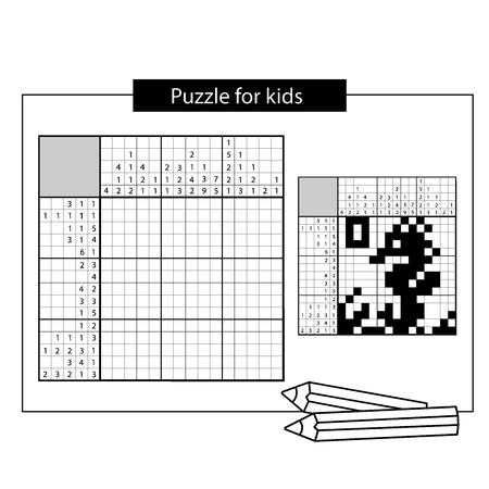 Seepferdchen. Meereslebewesen. Japanisches Schwarzweiss-Kreuzworträtsel mit Antwort. Nonogramm mit Antwort. Grafisches Kreuzworträtsel. Puzzle-Spiel für Kinder.