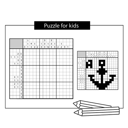 Anchor. Black and white japanese crossword with answer. Nonogram with answer. Graphic crossword. Puzzle game for kids. Иллюстрация