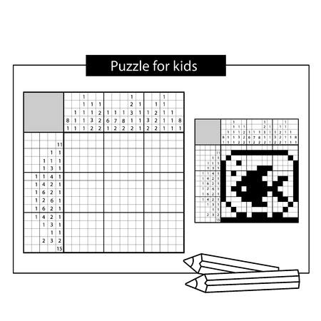 Aquarium met vissen. Zwart-wit Japans kruiswoordraadsel met antwoord. Nonogram met antwoord. Grafisch kruiswoordraadsel. Puzzelspel voor kinderen. Vector Illustratie