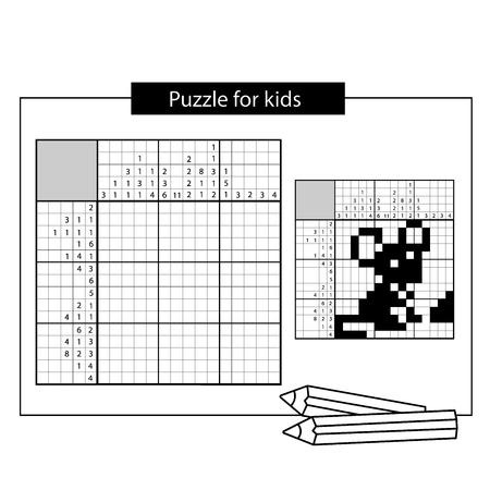 Muis. Zwart-wit Japans kruiswoordraadsel met antwoord. Nonogram met antwoord. Grafisch kruiswoordraadsel. Puzzelspel voor kinderen.