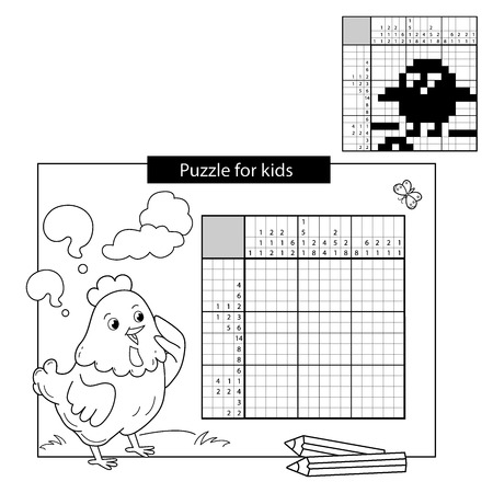Cartoon Vector Illustration of Education Puzzle Game for school Children. Chick with worm. Black and white japanese crossword with answer. Nonogram with answer. Graphic crossword. Coloring Page Outline Of chicken. Coloring book for kids.