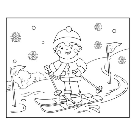 Coloring Page Outline Of cartoon boy skiing