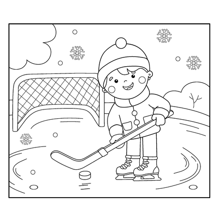 Coloring Page Outline Of cartoon boy playing hockey