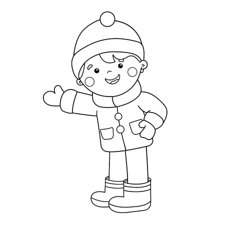 Coloring Page Outline Of Cartoon Boy Stock Vector
