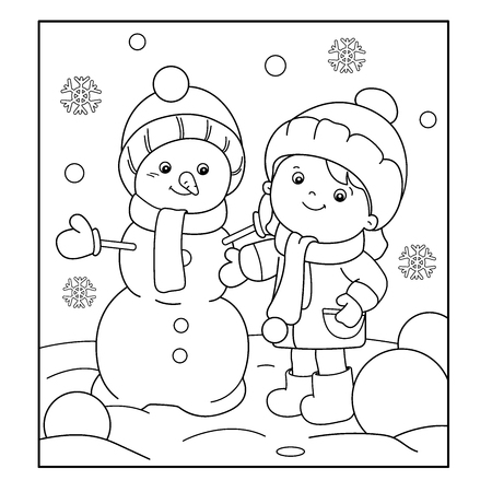 Coloring Page Outline Of cartoon girl making snowman