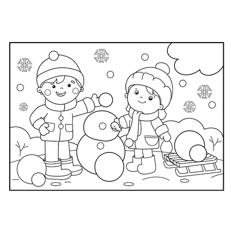 making coloring pages Coloring Page Outline Of Cartoon Boy With Girl Making Snowman  making coloring pages