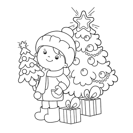 Coloring Page Outline Of girl with gifts at Christmas tree. Christmas. New year. Coloring book for kids