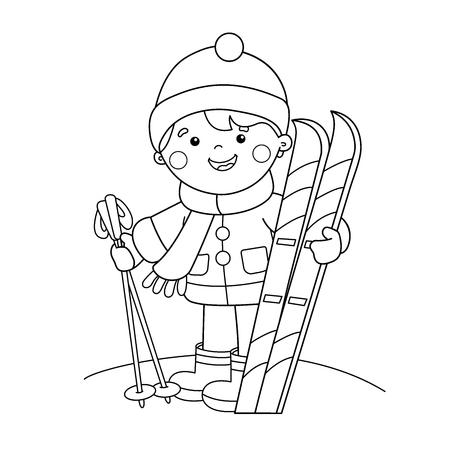 Outline Of cartoon boy with skis