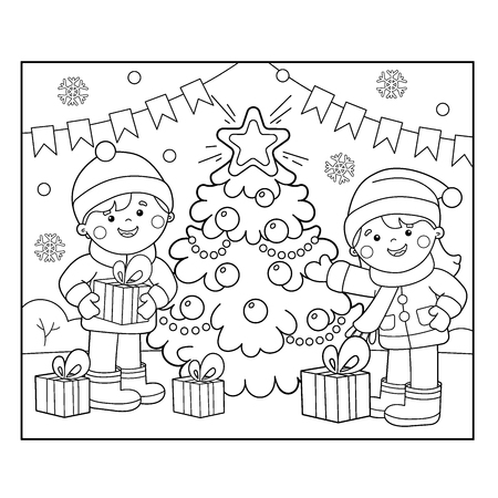 Coloring Page Outline Of children with gifts at Christmas tree Vettoriali