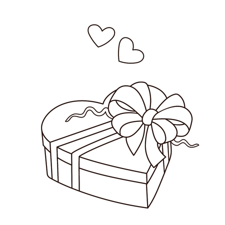 Coloring Page Outline Of gift. Birthday. Valentine's day. Coloring book for kids.