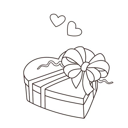 Disegni da colorare pagina muta del regalo. Compleanno. San Valentino. Libro da colorare per bambini.