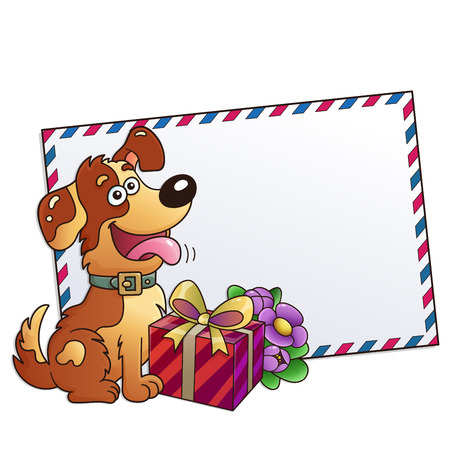 Funny dog with gift and flowers isolated on white background. Greeting card. Birthday. Valentines day. For kids.