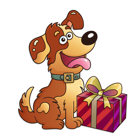 Funny dog with gift isolated on white background. Greeting card. Birthday. Valentine's day. For kids.