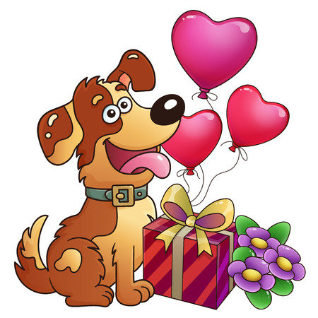 Funny dog with gift and flowers isolated on white background. Greeting card. Birthday. Valentine's day. For kids.