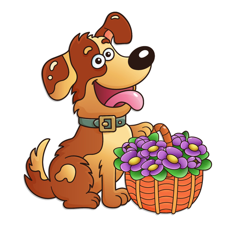 Funny dog with basket of flowers isolated on white background. Greeting card. Birthday. Valentines day. For kids.