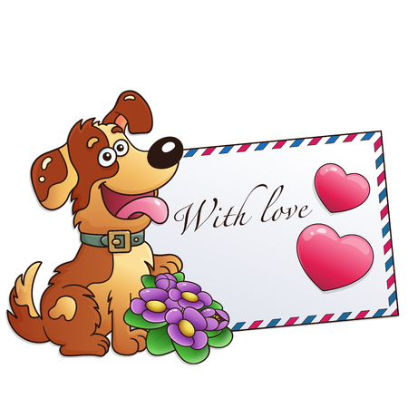 Funny dog with flowers isolated on white background. Greeting card. Birthday. Valentines day. For kids.