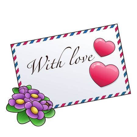 Greeting letter and hearts isolated on white background. Valentine's day. Birthday