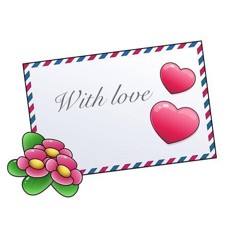 Lettre de voeux et coeurs isolés sur fond blanc. La Saint-Valentin. Date d'anniversaire