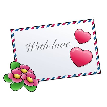 Greeting letter and hearts isolated on white background. Valentines day. Birthday
