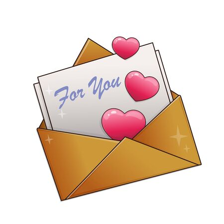 Greeting letter with hearts isolated on white background. Valentines day. Birthday Stock Illustratie