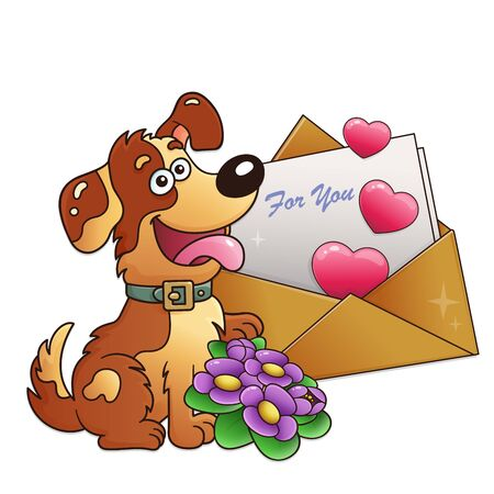 Dog with flowers and letter isolated on white background. Greeting card. Birthday. Valentines day. For kids.