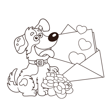 Coloring Page Outline Of cartoon dog with flowers and letter. Greeting card. Birthday. Valentine's day. Coloring book for kids.
