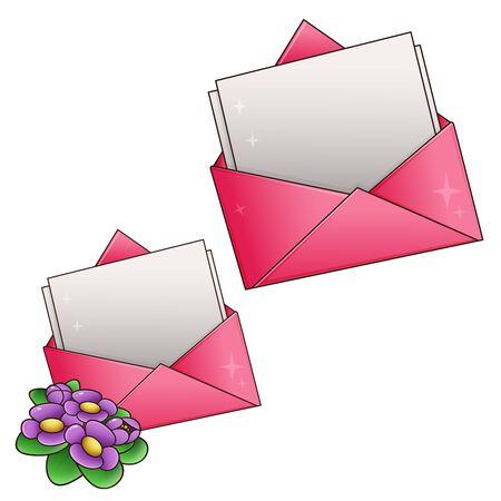 Lettre de voeux et coeurs isolés sur fond blanc. La Saint-Valentin. Date d'anniversaire Vecteurs