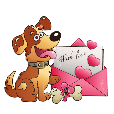 Dog with letter isolated on white background. Greeting card. Birthday. Valentine's day. For kids.