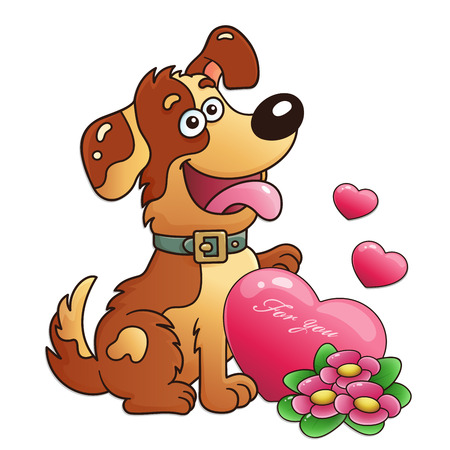 Dog with flowers and heart isolated on white background. Greeting card. Birthday. Valentines day. For kids.