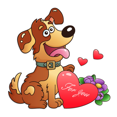 Dog with flowers and heart isolated on white background. Greeting card. Birthday. Valentine's day. For kids.