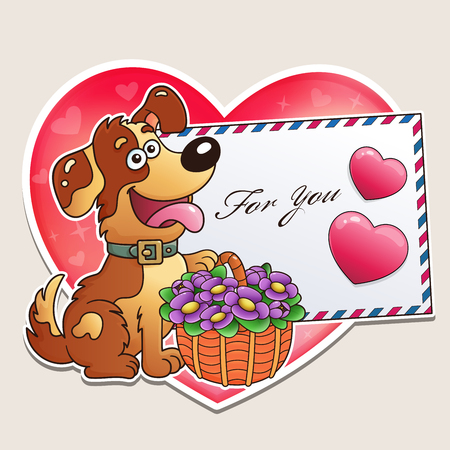 Valentines day. Funny dog with basket of flowers and letter. Greeting card. For kids.
