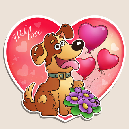 Valentines day. Dog with flowers and balloons. Greeting card. For kids.