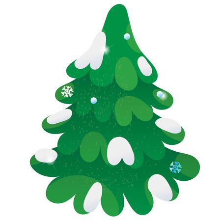 Fir. Winter. Snow-covered Christmas tree. Decorative element for postcard.