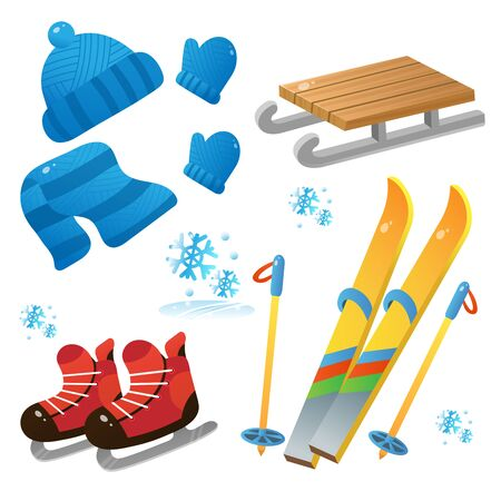 Winter decorative set for kids. Ski and skates. Wood sledge. Cap. Mittens. Scarf. Winter clothes. Winter leisure activities. Иллюстрация