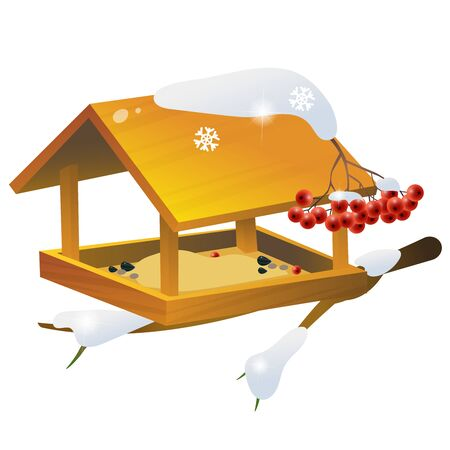 Snow-covered bird feeder. Winter. Illustration for kids. Vector. Иллюстрация
