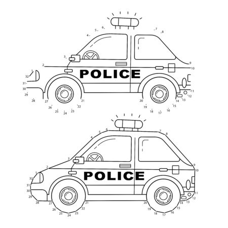Educational Puzzle Game for kids: numbers game. Police car. Images transport or vehicle for children. Coloring book. Иллюстрация