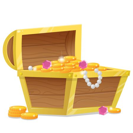 Color image of cartoon treasure chest on a white background. Pirate coffer with gold and jewels. Decorative element for pirate party for kids. Vector illustration.