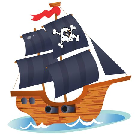 Color image of cartoon pirate ship on a white background. Sailboat with black sails with skull in sea drawing. Isolated element for pirate party for kids. Vector illustration.