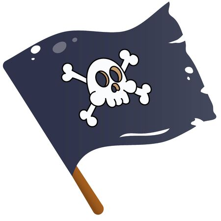 Color image of cartoon pirate flag on a white background. Black flag with skull drawing. Jolly Roger. Decorative element for pirate party for kids. Vector illustration.