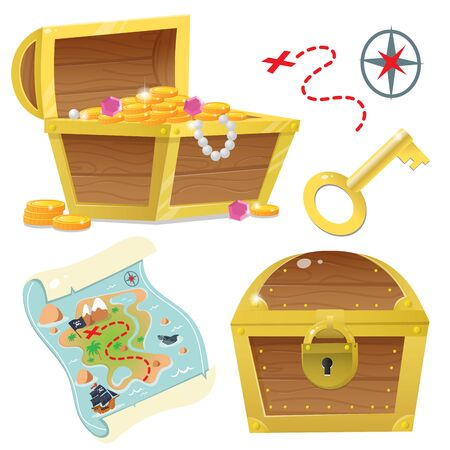 Cartoon set for pirate party for kids. Treasure chest. Pirate coffer with gold and jewels. Closed coffer with lock. Golden key. Treasure map. Color images on a white background. Vector illustration. Ilustração