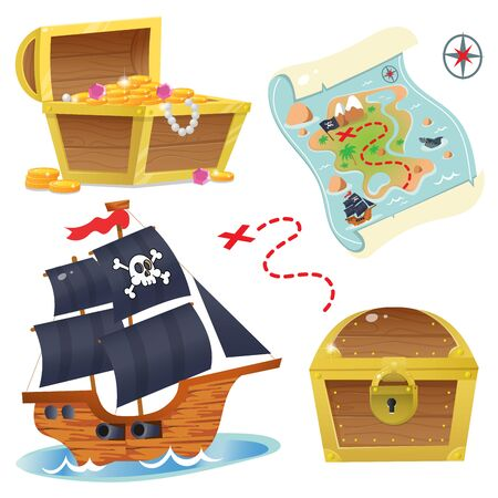 Cartoon set for pirate party for kids. Pirate ship. Sailboat with black sails with skull in sea. Treasure chest. Pirate coffer with gold and jewels. Closed coffer with lock. Golden key. Treasure map. Color images on a white background. Vector.