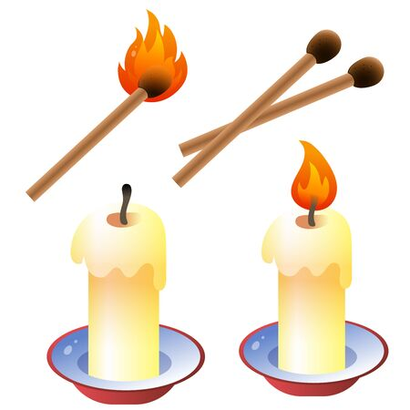 Color image of cartoon candles with matches on a white background. Vector illustration set.