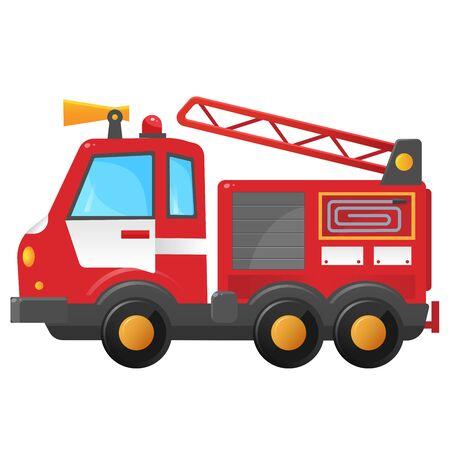 Imagen en color de camión de bomberos sobre un fondo blanco. Profesión: bombero. Ilustración de vector de transporte para niños.