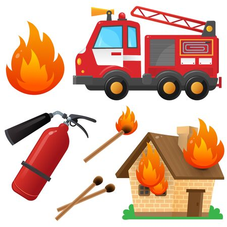 Color images set of fire truck, extinguisher, burning house and flame on a white background. Profession: fireman. Vector illustration of transport for kids.