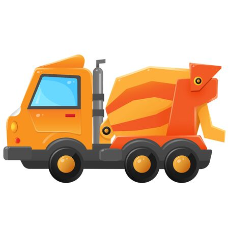 Color image of concrete mixer on a white background. Vector illustration of transport for kids.