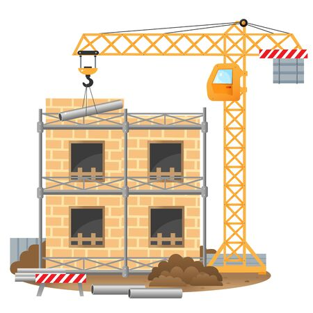 Color images of build of house, elevating crane on a white background. Vector illustration for kids.
