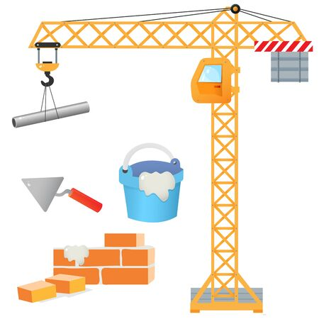 Color images of elevating crane, brick wall, cement with shpatel on a white background. Profession: builder. Vector illustration set for kids