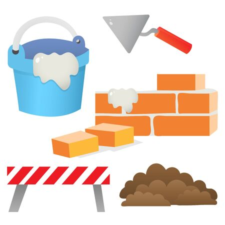Color images of brick wall, cement with shpatel on a white background. Set of building tools. Vector illustration for kids.