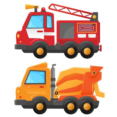 Imagen en color de camión de bomberos y hormigonera sobre un fondo blanco. Ilustraciones vectoriales de transporte para niños.